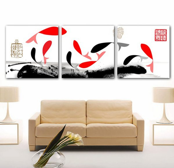 Home decoration unframed 3 Pieces art picture free shipping Canvas Prints Abstract art oil painting fish flower woman peony Chrysanthemum