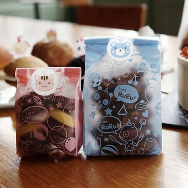 49pcs OPP Pink Rabbit and Blue RuRu style Side Gusset Bread And Cake Baking Bag Christmas Candy Gift Plastic Packaging Bag B132 <$18 no trac