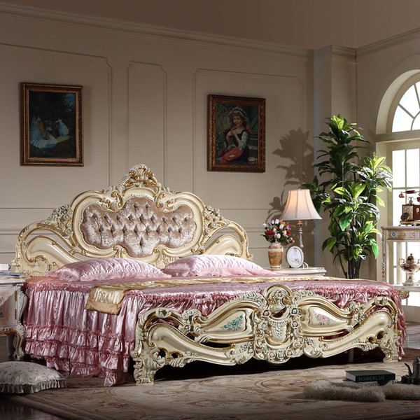 Rococ style classic european furniture -French romantic solid wood baroque antique bed with cracking paint and gold leaf gilding