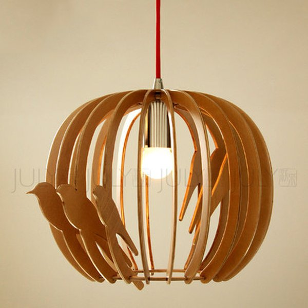 handmade wood led bird cage pendant lamp solid wood pendant lights modern real wood cage lamp