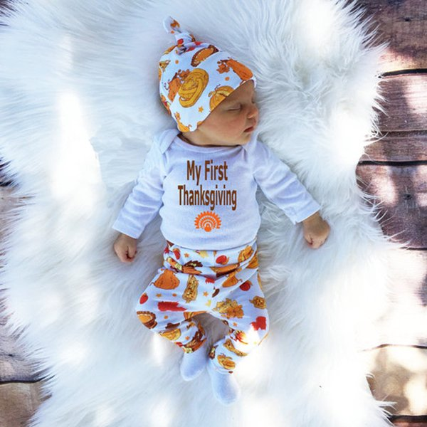 Newborn Outfits Thanksgiving Day's cloth Boys Girls Casual Long Sleeve romper + Pants Legging + Hat 3pcs Clothing Sets