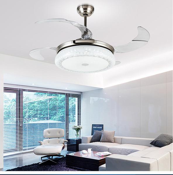 Acrylic ceiling chandelier fan lights LED European restaurant ceiling chandelier fans modern minimalist 42inch chandelier fans