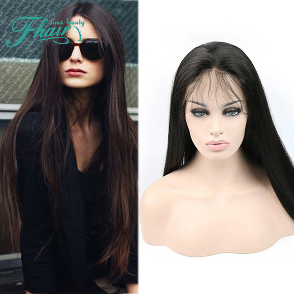 Long Silky Straight Full Lace Wig 8A Peruvian Glueless Human Hair Lace Front Wig With Middle Part Natural Hairline For Black Women