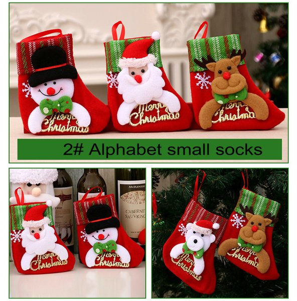 20pcs Christmas socks Christmas Bag Ornaments Sequins Embellished Non Woven Fabrics Party Gifts For Kids Candy Bag Christmas Stockings