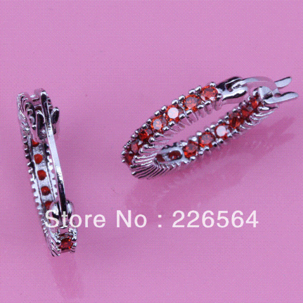 Fantastic White Gold Plated Red Cubic Zirconia Fashion jewelry Round Hoop Earrings E497 Hoop Earrings Cheap Hoop Earrings