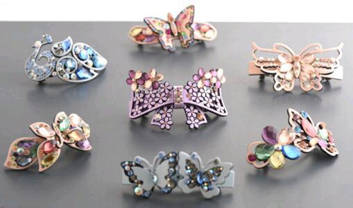 Il trasporto libero 10pcs / lotl mescola i fermagli per capelli dei capelli della clip degli accessori di cristallo di colori per il regalo HJ006 dei monili