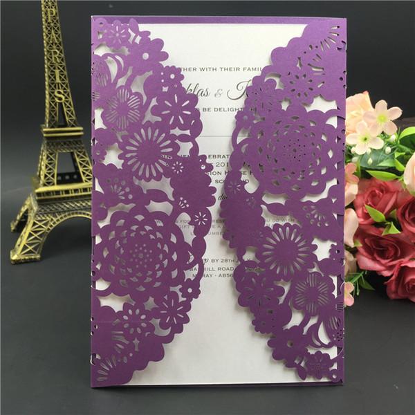 2018 Nueva tarjeta de invitación de boda con corte por láser púrpura con sobre, en blanco o personalizada fuente de la fiesta de favores de boda, envío gratis