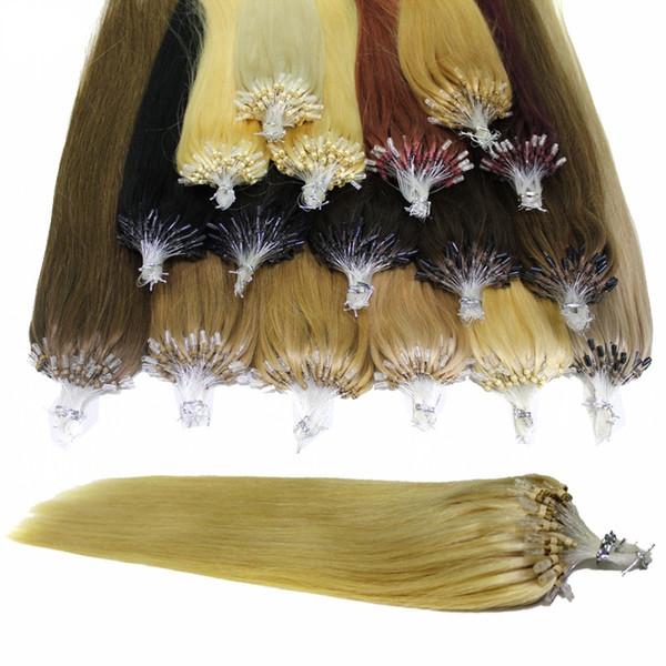 100 г / лот Micro Ring Loop Наращивание волос человека Бразильские прямые 100 прядей # 1 # 1B Черный # 8 # 10 коричневый # 27 # 60 # 613 блондинка # 99J