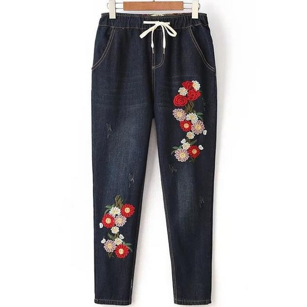 Wholesale- 2017 new harem pants trousers elastic waist retro design loose casual embroidery jeans female