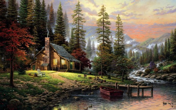top popular Thomas Kinkade Landscape Oil Painting Reproduction High Quality Giclee Print on Canvas Modern Home Art Decor TK095 2019