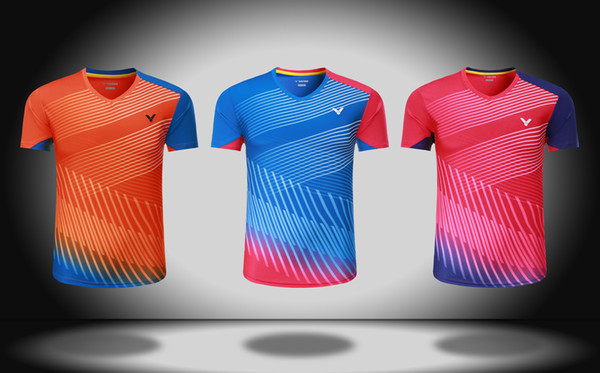 victory badminton Shirt Shorts clothes,men/women lovers v-neck badminton suit,polyester quick dry tennis tshirt,Badminton T-Shirts M-4xl