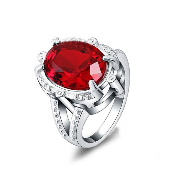 Best Gift Silver Plated Red Ruby Stone Wedding Ring Fashion Jewelry for Women Size 7#/8#