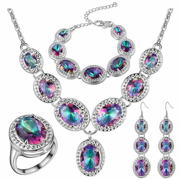 5PCS/SET Natural Mystic Rainbow Topaz 925 Sterling Silver Jewelry Sets For Women Earring/Pendant/Necklace/Ring/Bracelet Free Shipping
