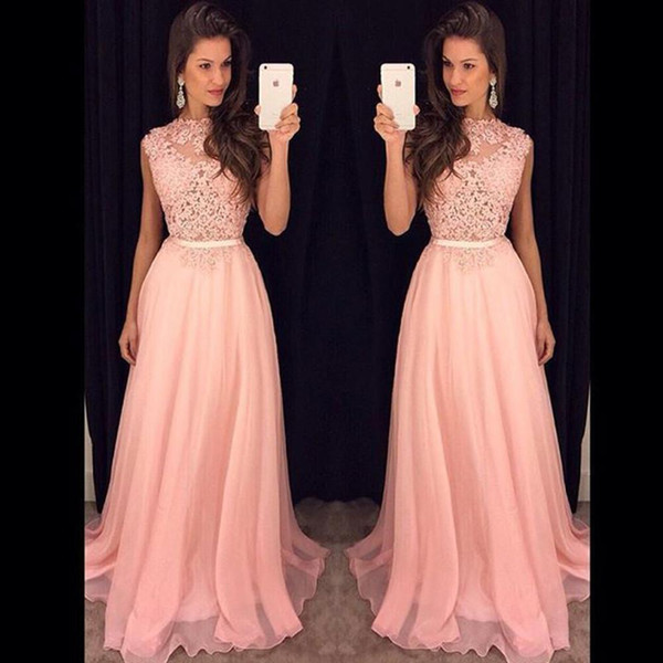 2019 Fancy New Pink Chiffon Long Prom Dresses Illusion Lace Top Flow Chiffon Floor Length Evening Vestidos De Fiesta Party Dresses with Belt
