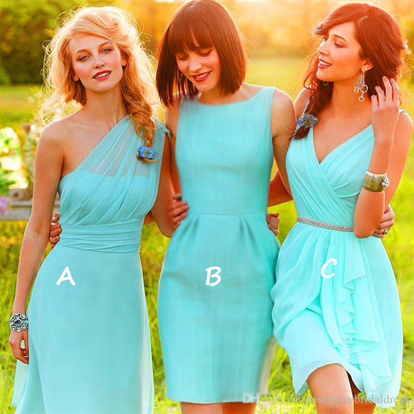 Vestidos One Shoulde/V-Neck Knee Length mint Green Chiffon Bridesmaid Dress With Crystal Sash Beach bridesmaids Wedding Party Dress Cheap