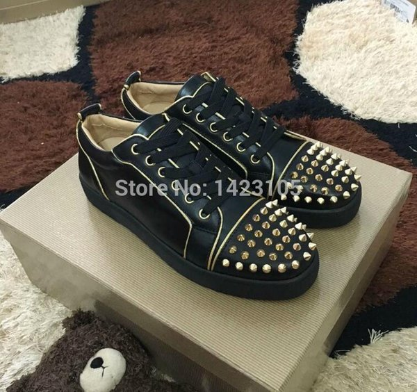 Hot women men Red Bottom Shoes gold toe Studs JUNIOR SPIKES Red Sole Casual Shoes Low-top Men's Flat black Genuine Leather