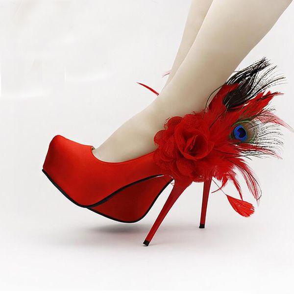 Moda scarpe da sposa in piuma rossa floreale Moda scarpe da piattaforma tacco alto Utra con tacco alto Scarpe da donna per le scarpe da festa nuziale