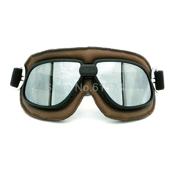 Vintage Pilot Eyewear Mirrored Lenses Helmet Goggles Glasses Motorcycle Goggle Biker Leather For Motorcycle Bike ATV Google