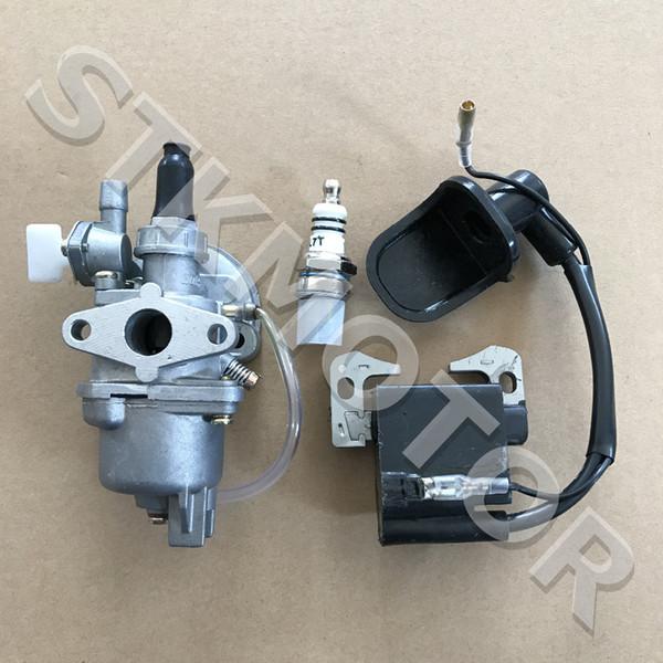 Wholesale- 2 Stroke Carburetor With Ignition Coil Spark Plug 47cc 49cc Mini Quad Pit Dirt Super Pocket Bike ATV Parts
