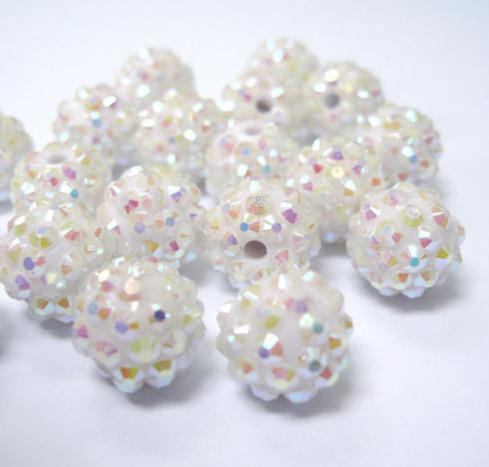 100 pcs/lot 10mm 12mm White mixed multicolor Chunky Epoxy Resin Rhinestones Ball Beads free shipping Basketball wive Bead bracelet Finding