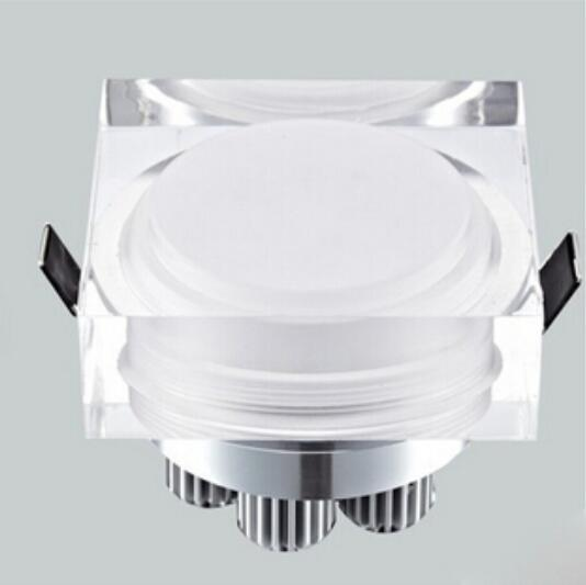 Crystal downlight round/square 1W 3W 5W 7W LED Ceiling spot light 110V 220V recessed lamp down for home decoration kitchen