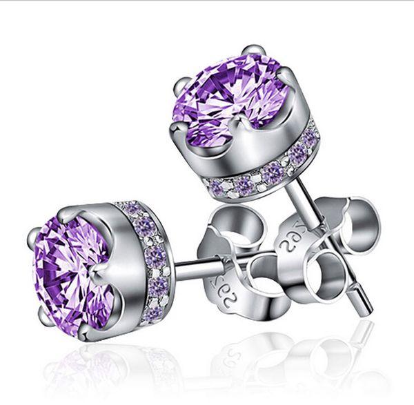 top popular Amethyst Crown Stud Earrings for Women Austrian Crystal Ear Jewelry 925 Sterling Silver Women Wedding Stud Earrings Purple White Brand New 2019