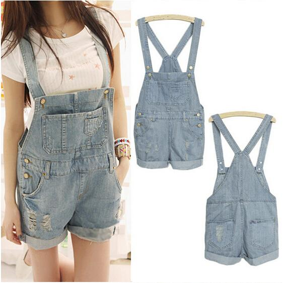 Wholesale-EAS 2016 Fashion Girl Denim Rompers Strap Pockets Frayed Ripped Holes Overalls Rompers Womens Jumpsuit Shorts Jeans Light Blue