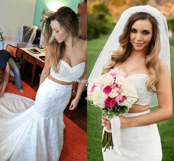 Pearls Beaded Two Piece Lace Mermaid Beach Wedding Dresses 2019 New Sexy Sweetheart Trumpet Bride Dress Wedding Gowns Crop Top Chapel Train