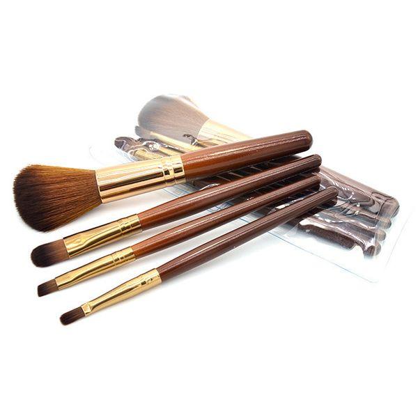 Brown Makeup Brushes Sets Wood Handle Multi-Functional Brushes Kits Makeup Tools with OPP Bag 4pcs/set powder bruhs eye shadow brush 2805057