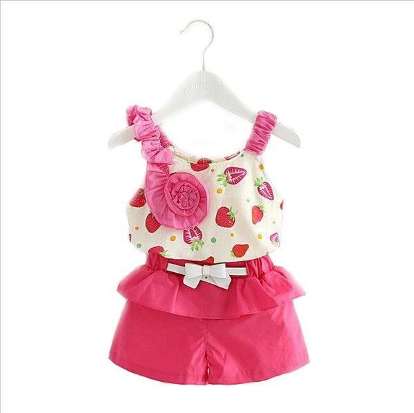Baby-kleidung Sleeveless Strawberry Blumen Sling Kleidung Set 2016 Beiläufiger Sommer Stil Kinder Kleidung Kinder Mädchen Kleidung Sportklage