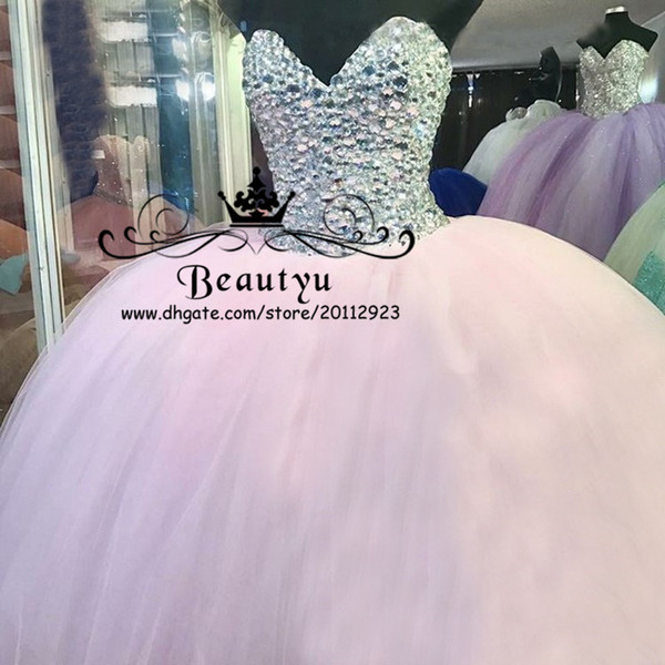 Luxury Silver Crystals Sweet 16 Ball Gown Quinceanera Dresses Light Pink  Tulle Puffy Plus Size 2018 Masquerade Vestidos Ragazza Prom Gowns  Quinceanera