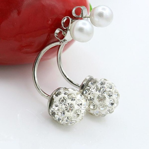Double sided Shambala Ball Stud Earrings Pearl Diamond Crystal disco beads Earings Silver plated fine Jewelry for women girls