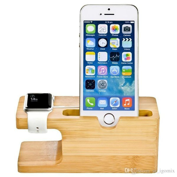 Bamboo Wood Charging Stand WD05-1 Bracket Docking Station Cradle Holder W Business Card Slot for iPhone Apple Watch