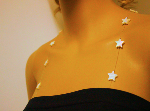 Wholesale-1 pair 2015 sexy star shaped nature shell beads pu bra straps 13inch with adjustable chain show your shoulder jewelry in summer