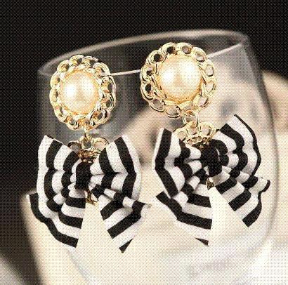 2015 New brand quality black White fashion stripe bowknot lace drop earrings pendientes bridal lada cc bijoux jewelry brincos