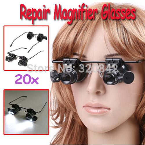 Wholesale-1pcs Watch Repair Glasses Style Magnifier Loupe 20X With LED Light Hot Selling Free Shipping