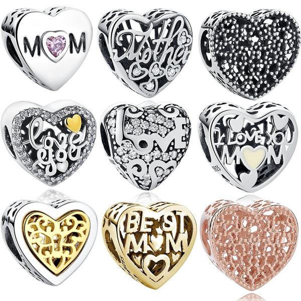 BELAWANG para o Dia das Mães Presente 10 Estilos 925 Sterling Silver Coração Charme Beads Limpar CZ Beads Fit Pandora Charme Pulseira DIY Fazer Jóias