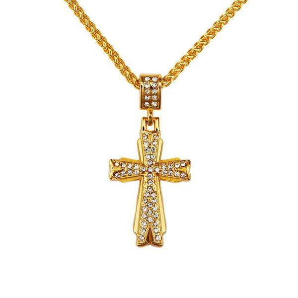 Fashion Jewelry Men Hip Hop Rock Rap Charm Cross Pendant Necklaces Full Crystal 18K Gold Plated 75cm Long Chains Mens