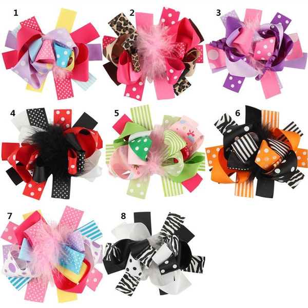 "Feather Ribbon hair Bows Children Hairpins 30pcs 4.5"" spike boutique hair bows WITH CLIP kids girl gift headwear accessories B866"