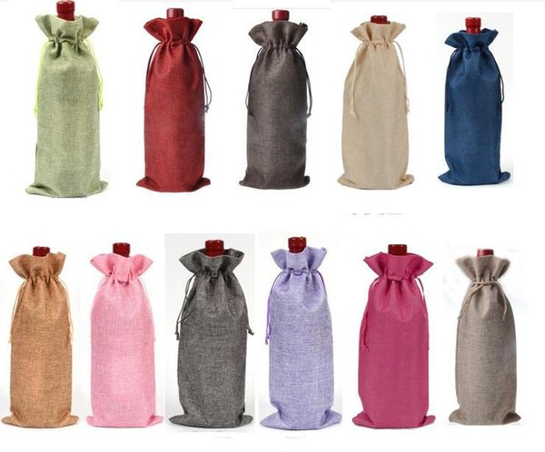 "best selling Jute Wine Bottle Bags Drawstring Pouch 15cmx35cm(6""x14"") Gift Bag Wedding and Festivals Decoration Favor holder"