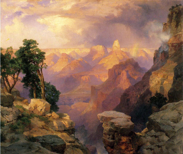 Thomas Moran - Grand Canyon with Rainbows no Framed ,Pure Handpainted Landscape Art oil painting On High Quality Canvas size can customized