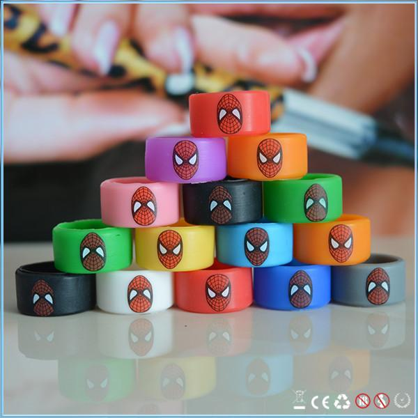 Wholesale widened silicone ring Spider Man vape band fit mech mod, box mod MOQ 100pcs free shipping mixed colors only