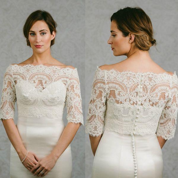 best selling Off Shoulder Cheap Bridal Wraps Half Sleeves Bridal Coat Lace Jackets Wedding Capes Wraps Bolero Jacket Wedding Dress Wraps Plus Size