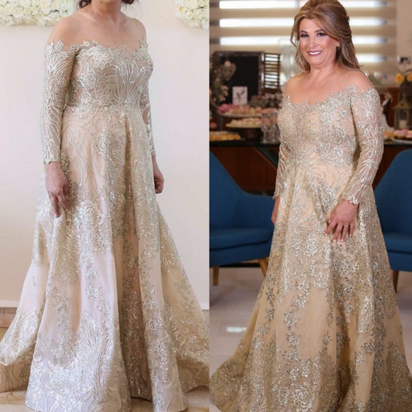 Elegant Plus Size Mother Of The Bride Dresses Sheer Tulle Off Shoulder Long Sleeve Nigerian Lace Styles Formal Wedding Guest Dress