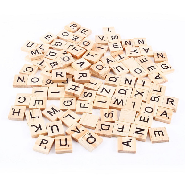 best selling 100pcs set Wooden Alphabet Scrabble Tiles Black Letters & Numbers For Crafts Wood