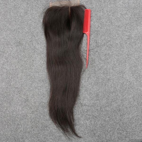 Slove 7A Best Brazilian Virgin Hair Lace Closure Bleached Knots Straight 4x4 Virgin Human Hair Closure DHL Free No Tangle&Shedding