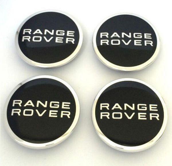 4x Range Rover lega ruota centro tappi 63mm Nero /& Chrome di alta qualità