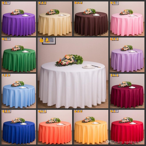 """best selling Free by DHL,10 pieces Tablecloth Table Cover Round Satin for Banquet Wedding Party Decoration White Black Wholesales 72"""""""