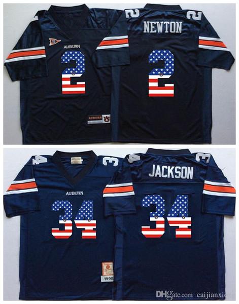 2016 Auburn Tigers Blue 34 Bo Jackson 2 Cam Newton Mens College Football Jersey Men Flag Jerseys
