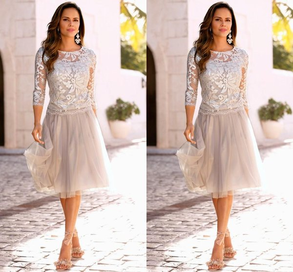 2017 Newest Mother Of The Bride Dresses With 3/4 Long Sleeves Lace Tulle Knee Length Mother Of Bride Dresses Cheap Wedding Guest Dresses